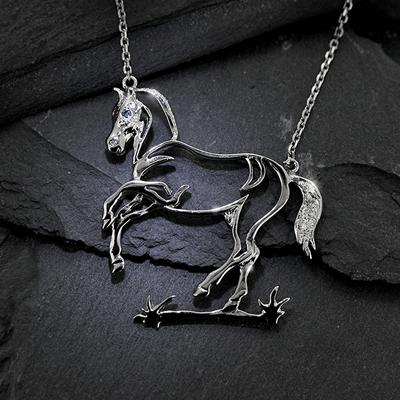 Diamond and white gold Equestrian horse shaped necklace