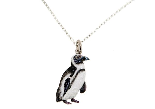 Sterling Silver Enamel Penguin Pendant